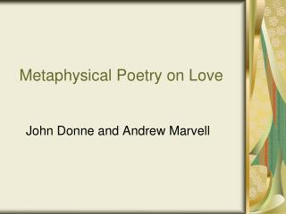 Metaphysical Poetry on Love