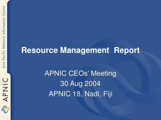 Resource Management  Report