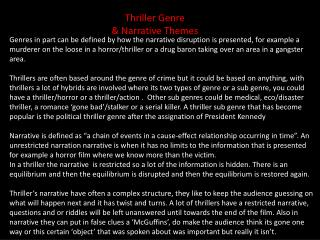 Thriller Genre & Narrative Themes