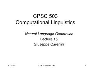 CPSC 503 Computational Linguistics