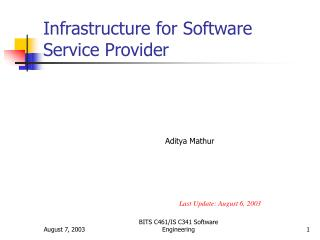 Infrastructure for Software Service Provider