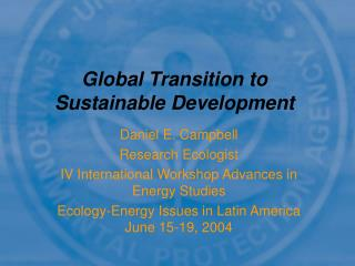 Global Transition to Sustainable Development