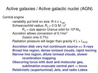 Active galaxies / Active galactic nuclei (AGN)