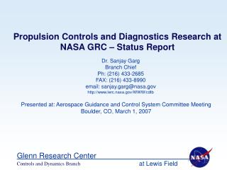 Propulsion Controls and Diagnostics Research at NASA GRC – Status Report
