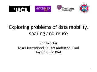 Exploring problems of data mobility, sharing and reuse