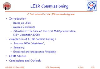 LEIR Commissioning
