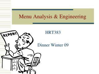 Menu Analysis & Engineering