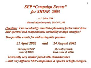 "SEP ""Campaign Events""  for SHINE  2003"