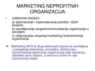 MARKETING NEPROFITNIH ORGANIZACIJA