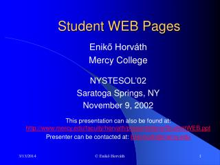 Student WEB Pages