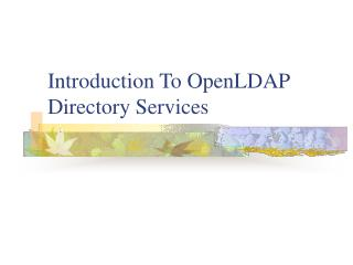 Introduction To OpenLDAP Directory Services
