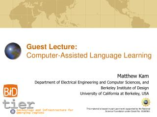 Guest Lecture:  Computer-Assisted Language Learning
