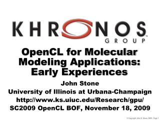 OpenCL for Molecular Modeling Applications: Early Experiences