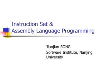 Instruction Set &  Assembly Language Programming