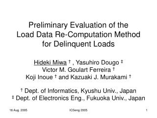 Preliminary Evaluation of the  Load Data Re-Computation Method  for Delinquent Loads
