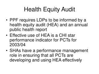 Health Equity Audit