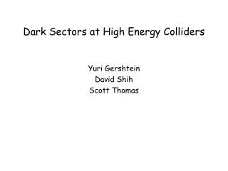 Dark Sectors at High Energy Colliders