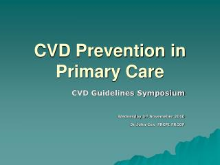 CVD Prevention in Primary Care