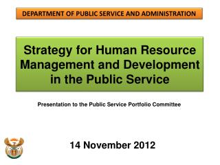 Strategy for Human Resource Management and Development  in the Public Service