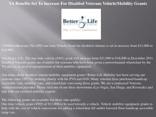 VA Benefits Set To Increase For Disabled Veterans Vehicle/Mo