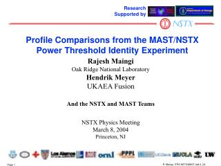 Profile Comparisons from the MAST/NSTX Power Threshold Identity Experiment
