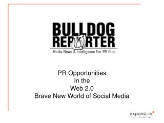 PR Opportunities  In the  Web 2.0  Brave New World of Social Media