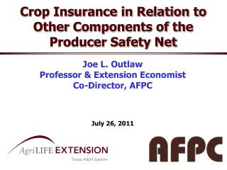 Crop Insurance in Relation to Other Components of the Producer Safety Net
