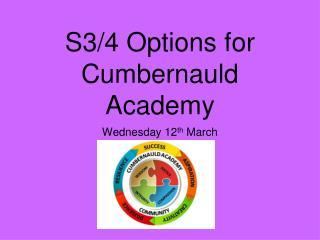 S3/4 Options for Cumbernauld Academy