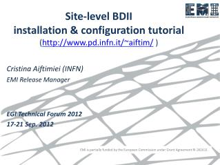 Site-level BDII installation & configuration tutorial ( pdfn.it/~aiftim/  )