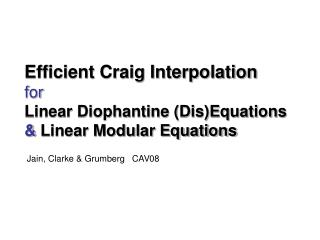 Efficient Craig Interpolation for Linear Diophantine (Dis)Equations &  Linear Modular Equations