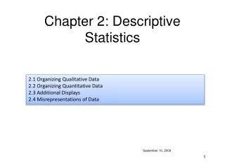 Chapter 2: Descriptive Statistics