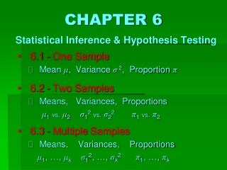 CHAPTER 6 Statistical Inference & Hypothesis Testing