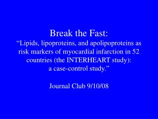 Journal Club 9/10/08