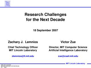 Research Challenges  for the Next Decade