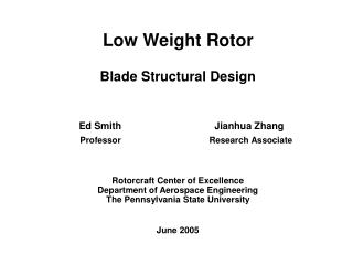 Low Weight Rotor Blade Structural Design