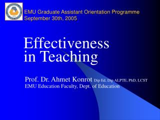 EMU Graduate Assistant Orientation Programme September 30th, 2005