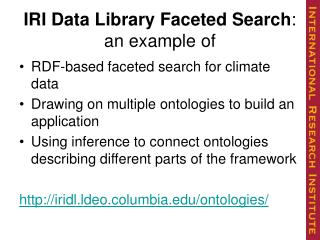 IRI Data Library Faceted Search : an example of
