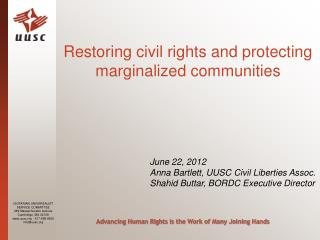 Restoring civil rights and protecting marginalized communities