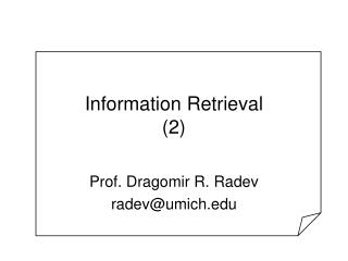 Information Retrieval (2)