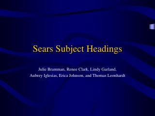 Sears Subject Headings