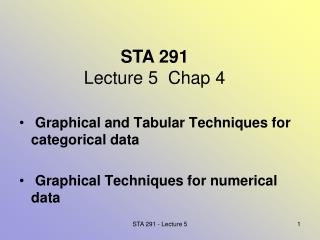 STA 291 Lecture 5  Chap 4