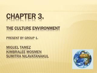 Chapter 3. The culture environment Present by group 1. Miguel  tamez kimbralee mosmen Sumitra nilavatanakul
