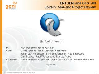 ENTGENI and OFSTAN Spiral 2 Year-end Project Review