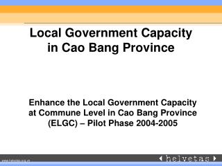 Local Government Capacity  in Cao Bang Province