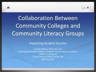 Collaboration Between Community Colleges and Community Literacy Groups