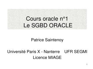 Cours oracle n°1  Le SGBD ORACLE