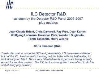 ILC Detector R&D as seen by the Detector R&D Panel 2005-2007  plus updates