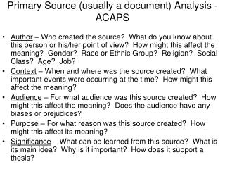 Primary Source (usually a document) Analysis - ACAPS