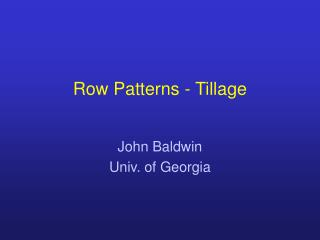 Row Patterns - Tillage