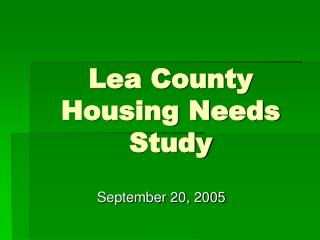 Lea County Housing Needs Study